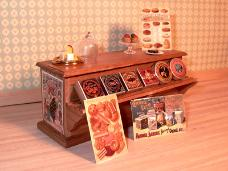 Dollhouse miniature food store counter display