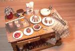 Dollhouse miniature food baking table