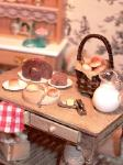 Dollhouse miniature food baking table bread