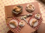Dollhouse miniature food baking table breakfast
