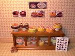Dollhouse miniature food shop counter cakes