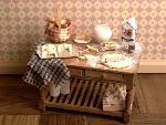 Dollhouse miniature food baking table croissant