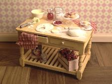 Dollhouse miniature food baking tables