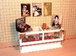 Dollhouse miniature food shop counter tea