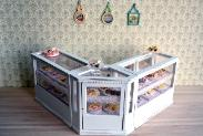 Dollhouse miniature food shop counter display shabby